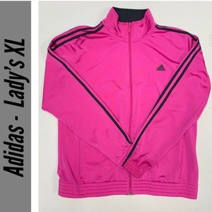 Adidas Hot Pink &Black Ladies Zip-Up Track Jacket